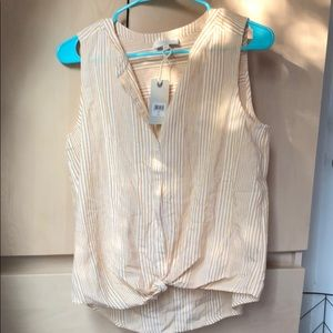 Lucky Brand Striped Yellow Top